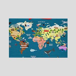 World Map For Kids - Lets Explore Rectangle Magnet