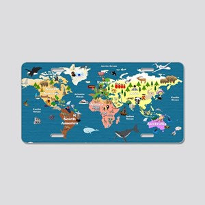 World Map For Kids - Lets E Aluminum License Plate