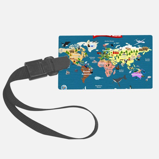 World Map For Kids - Lets Explor Luggage Tag