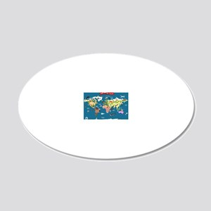 World Map For Kids - Lets Ex 20x12 Oval Wall Decal