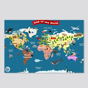 World Map For Kids - Lets Postcards (Package of 8)