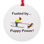 Fueled by Puppy Power Round Ornament