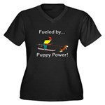 Fueled by Pu Women's Plus Size V-Neck Dark T-Shirt