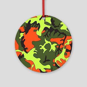 Bright Colored Camouflage Round Ornament