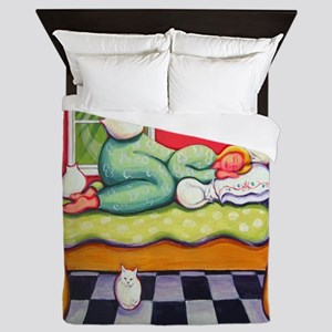 Cat Napping Woman Italy Queen Duvet