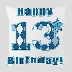 Happy 13th Birthday! Woven Throw Pillow