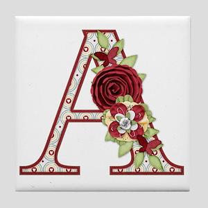 Monogram Letter A Tile Coaster