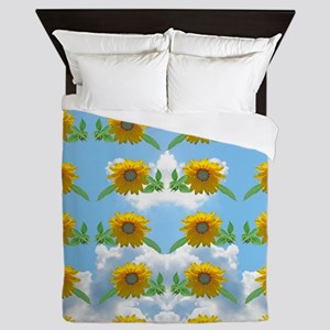 Sunflower sky Queen Duvet