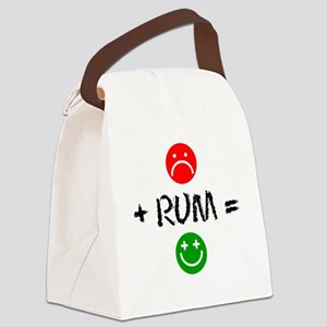 Plus Rum Equals Happy Glass Canvas Lunch Bag