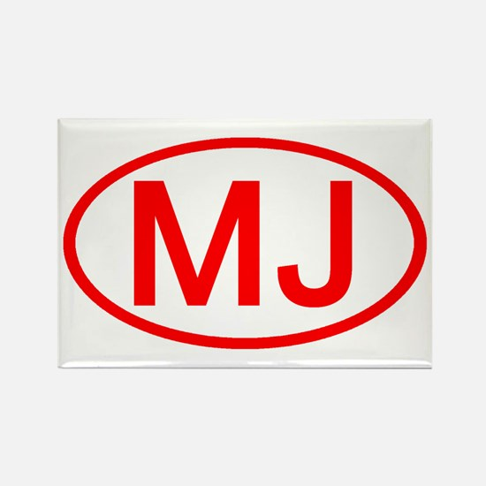 MJ Oval (Red) Rectangle Magnet