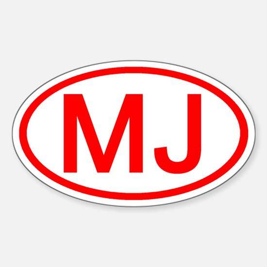 MJ Oval (Red) Oval Decal