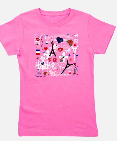 Paris pattern with Eiffel Tower Girl's Tee