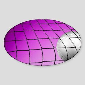 Purple Volleyball Net Sticker (Oval)
