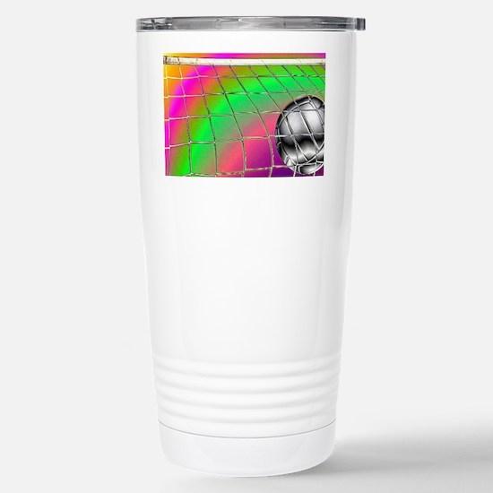 Rainbow Volleyball  Net Stainless Steel Travel Mug