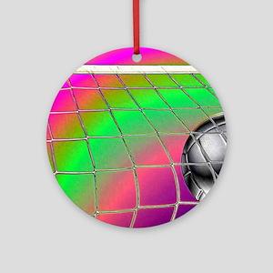 Rainbow Volleyball  Net Round Ornament