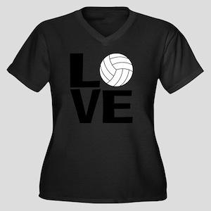 Volleyball L Women's Plus Size Dark V-Neck T-Shirt