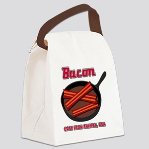 Bacon Cast Iron Skillet USA Canvas Lunch Bag