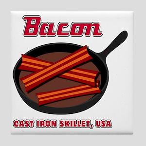 Bacon Cast Iron Skillet USA Tile Coaster