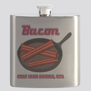 Bacon Cast Iron Skillet USA Flask