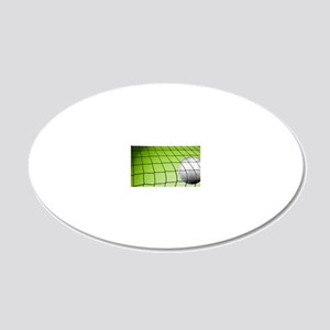 Green Volleyball  Net 20x12 Oval Wall Decal