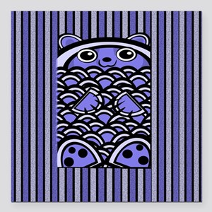 "Blue Bear Striped Square Car Magnet 3"" x 3"""