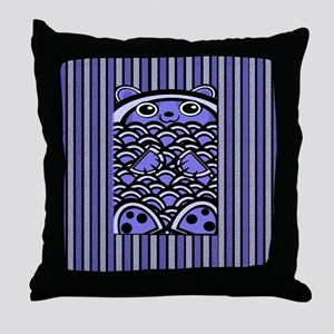 Blue Bear Striped Throw Pillow