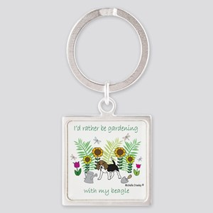 id rather be gardening with my dog Square Keychain