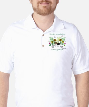 id rather be gardening with my dog.. Golf Shirt
