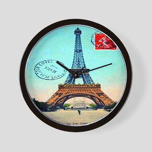 Vintage French Eiffel Tower Postcard Wall Clock