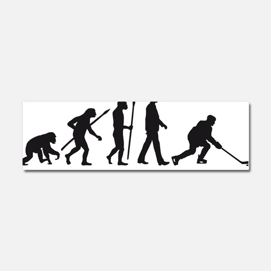 evolution of man hockey player Car Magnet 10 x 3