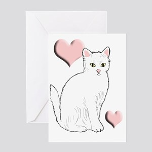 White Kitty Greeting Card