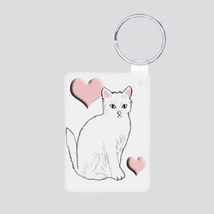 White Kitty Aluminum Photo Keychain