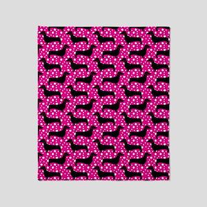 Pink Polka Doxies Throw Blanket