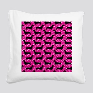 Pink Polka Doxies Square Canvas Pillow