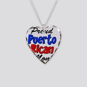 Proud Puerto Rican Mom Glass Necklace Heart Charm