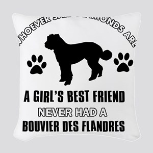 Bouvier Des Flandres Mommy Des Woven Throw Pillow