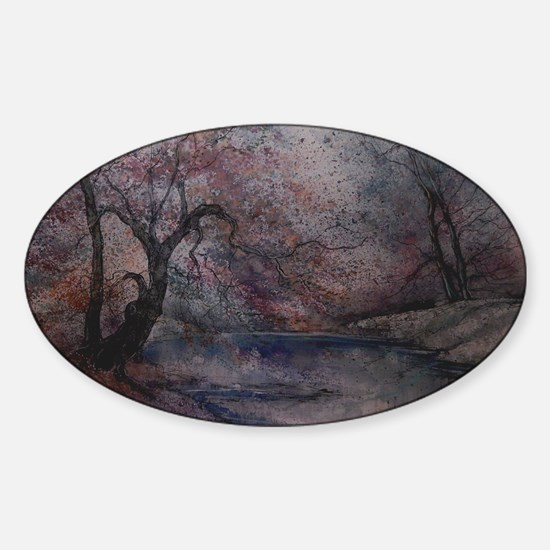 Autumn Pond 1 Sticker (Oval)