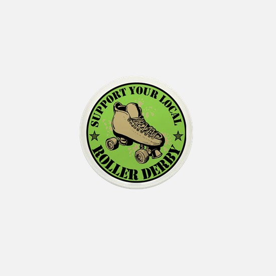 Support Roller Derby Green Mini Button