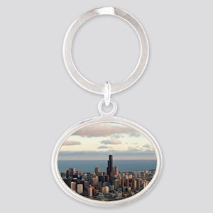 Chicago Oval Keychain