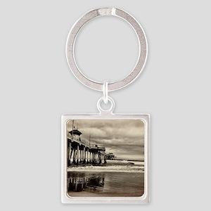 Huntington Beach CA Pier Square Keychain