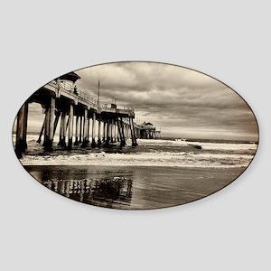 Huntington Beach CA Pier Sticker (Oval)