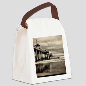 Huntington Beach CA Pier Canvas Lunch Bag