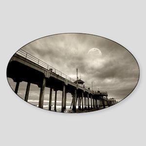 Huntington Beach surf by night  Sticker (Oval)