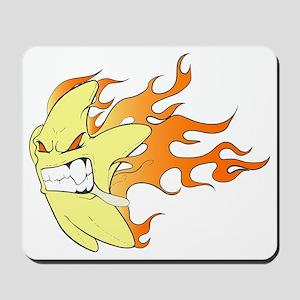 Flaming Cartoon Star Facing Left Mousepad