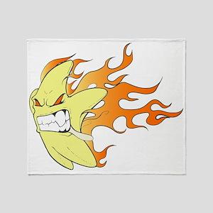 Flaming Cartoon Star Facing Left Throw Blanket
