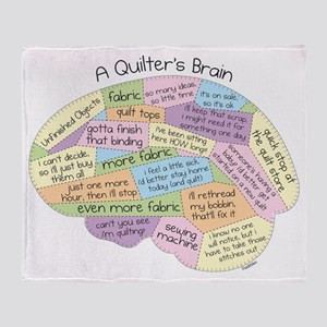 Quilters Brain Throw Blanket