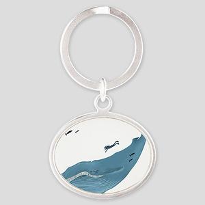 Blue Whale Oval Keychain