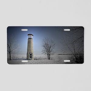 winter lighthouse Aluminum License Plate