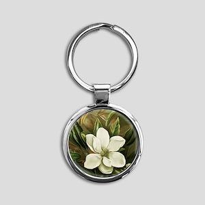 Magnolia Round Keychain