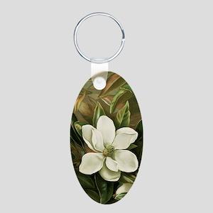 Magnolia Aluminum Oval Keychain